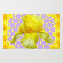ABSTRACT YELLOW SPRING IRIS GOLDEN DAFFODILS FRAME Rug