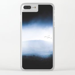 Misty Mountains Low Cloudy Sky Birds Landscape Clear iPhone Case