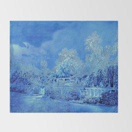 Wedgewood Blue English Garden Throw Blanket
