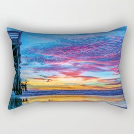 Solstice sunset at Newport Pier Rectangular Pillow