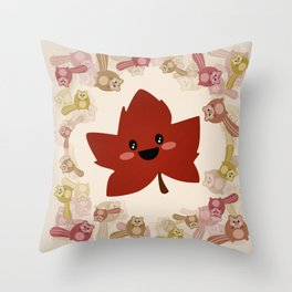 Happy Autumn leaf and the crazy chipmunk hurricane. Throw Pillow