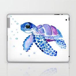 Blue Purple Sea Turtle, Children artwork Laptop & iPad Skin