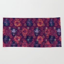 Lotus flower - fire on mulberry woodblock print style pattern Beach Towel