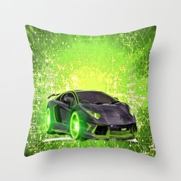 Tronic Green Sports Car Throw Pillow