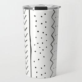 Moroccan Stripe in Cream and Black Travel Mug
