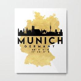 MUNICH GERMANY SILHOUETTE SKYLINE MAP ART Metal Print