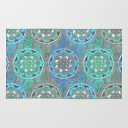 Mint Green, Blue & Aqua Super Boho Medallions Rug