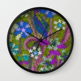 Starry Floral Felted Wool, Moss Green and Violet Wall Clock