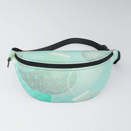Silver and Mint Blue Christmas Ornaments Fanny Pack