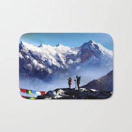 Panoramic View Of Ama Dablam Peak Everest Mountain Bath Mat
