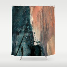 Same Stars [2] - an abstract mixed media piece in blues, pinks, and black Shower Curtain