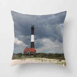 Dramatic Sky Over Fire Island Light Throw Pillow