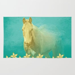 Golden ghost horse on teal Rug