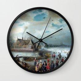 Adam van Breen Skating on the Frozen Amstel River Wall Clock
