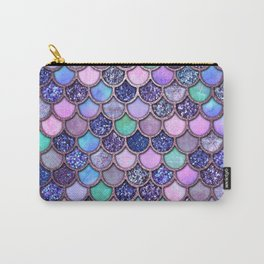 Colorful Pink & Purple Watercolor & Glitter Mermaid Scales Carry-All Pouch