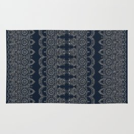 Silvery Striped Doodle Rug