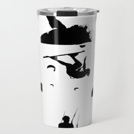 Wakeboarder Silhouette Collage Travel Mug