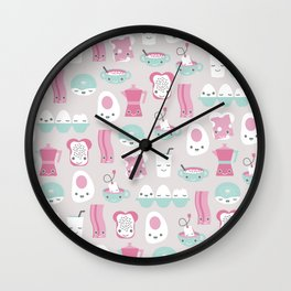 Kawaii breakfast good morning pattern with eggs coffee bacon and tea Wall Clock