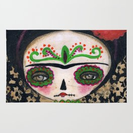 Frida The Catrina And The Devil - Dia De Los Muertos Mixed Media Art Rug