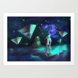 The Aliens Attack The Egyptian Pyramids  Art Print