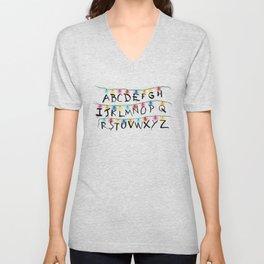 Stranger Things Alphabet Lights Unisex V-Neck