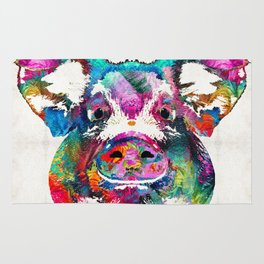 Colorful Pig Art - Squeal Appeal - By Sharon Cummings Rug