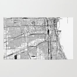 Chicago White Map Rug