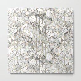 White marble geomeric pattern in gold frame Metal Print
