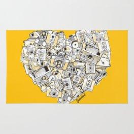 Camera Heart - on yellow Rug