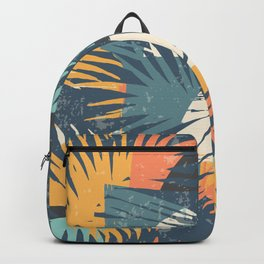 ABSTRACT TROPICAL SUNSET with palm leaves Backpack