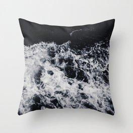 OCEAN - WAVES - SEA - ROCKS - DARK - WATER Throw Pillow
