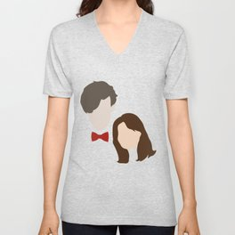 The Eleventh Doctor and the lovely Clara Oswin Oswald Unisex V-Neck