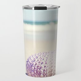 Sea Urchin Beach Photography, Seashell Blue Purple Art, Shell Coastal Ocean Photo Travel Mug