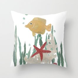 Angelfish, Starfish, Sea Creatures  Throw Pillow