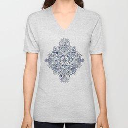 Floral Diamond Doodle in Dark Blue and Cream Unisex V-Neck