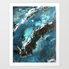 blue marble waves Art Print