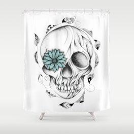 Poetic Wooden Skull Shower Curtain