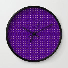 polk-a-dots orange on dark purple Wall Clock