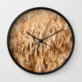 golden cereal grain ears on field Wall Clock