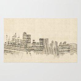 Sydney Australia Skyline Sheet Music Cityscape Rug
