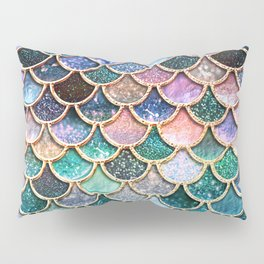 Multicolor pink and aqua mermaid scales -Beautiful abstract glitter pattern Pillow Sham
