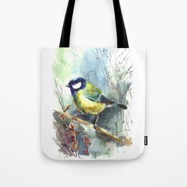 Watercolor aquarelle titmouse bird Tote Bag