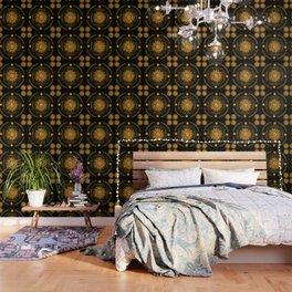 """Black & Gold Vault Mandala"" Wallpaper"