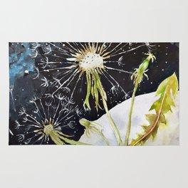 Dandelion Moon Surreal Space Travel, Taraxacum Rug