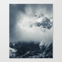 Darkness and mysterious clouds over the mountain Canvas Print