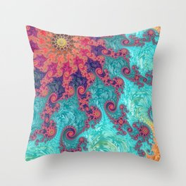 Rainbow Fractal Throw Pillow