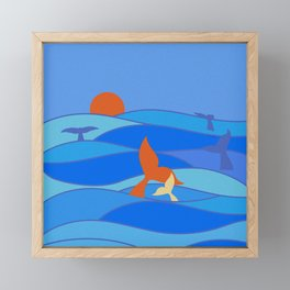 Whales Baby Whale and Mother Framed Mini Art Print