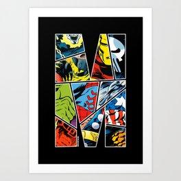 Classic comic heroes Art Print