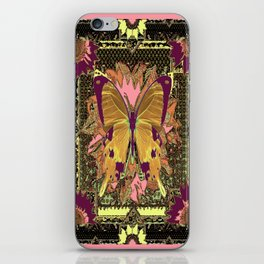 Western Style Swallow Tail Butterfly in pinks and Greenish Black Designs iPhone Skin