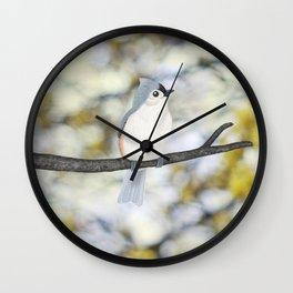 tufted titmouse - bokeh Wall Clock